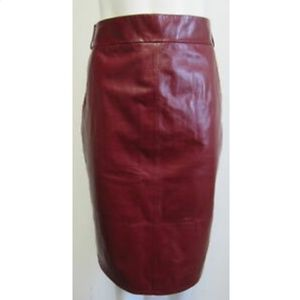 CHANEL Oxblood Red Leather Pencil Skirt SZ 44/L
